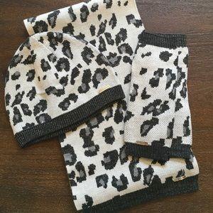 Calvin Klein Leopard Scarf, Beanie and Gloves